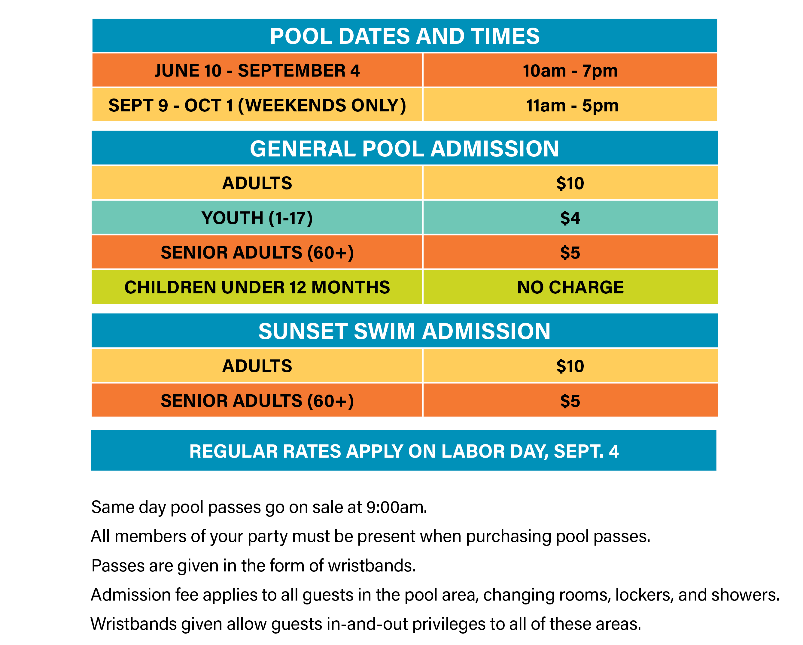 Pool page info hours